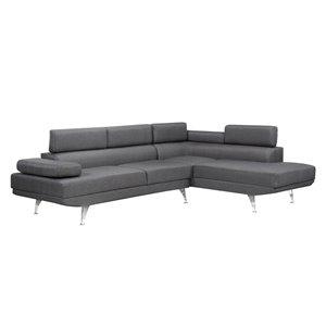 Sofa modulaire Aria de Brassex avec bras et dossier réglables , gris et chrome