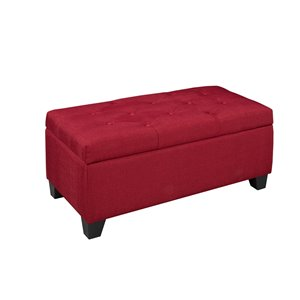 Tufted Storage Ottoman Red - 17.7-in x 17-in x 36-in
