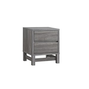 Brassex Night Stand with 2 Drawers in Grey - 15.5-in x 22-in x 15.5-in