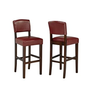 Brassex Contemporary Bar Stool in Red - 29-in - Set of 2