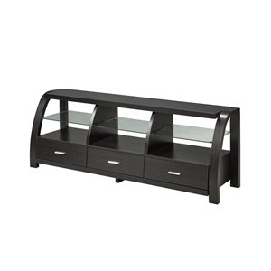 Brassex 60-in TV Stand with 3 Drawers and 3 Open Storage Shelves - Dark Cherry