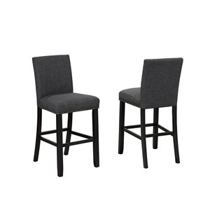 Brassex Indira Counter Stool with Nail-Head Trim Grey - 24-in - Set of 2