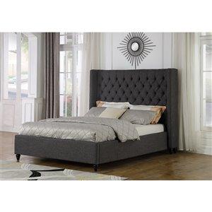 Très grand lit rembourré Marcella de Brassex, gris