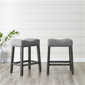 Brassex Oakland Saddle Counter Stool Grey - 26-in - Set of 2