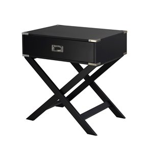 Brassex Soho Accent Table with Storage Black - 24-in x 27-in x 18-in