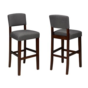 Brassex Contemporary Bar Stool in Grey Fabric - 29-in - Set of 2