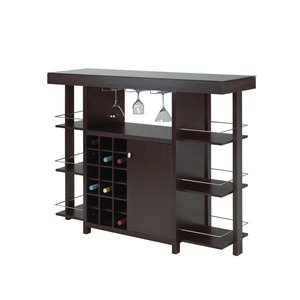 Brassex Bar Cabinet with Smoked Glass Top Expresso