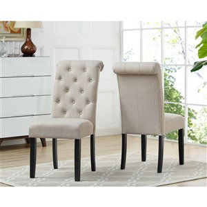 Brassex Tinga Tufted Dining Chair in Beige Finish - Set of 2