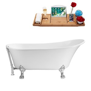 Streamline Clawfoot Bathtub with Tray and External Drain - 55-in- White/Chrome
