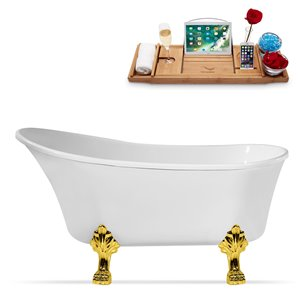 Streamline Clawfoot Tub and Tray With Internal Drain - 63-in - White/Gold