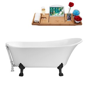 Streamline Clawfoot Tub with Tray and External Drain - 55-in- White/Chrome