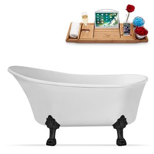 Streamline Clawfoot Tub and Tray With Internal Drain - 59-in - White/Black