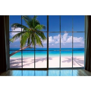 Dimex Beach Window View Wall Mural - 12-ft 3-in x 8-ft 2-in