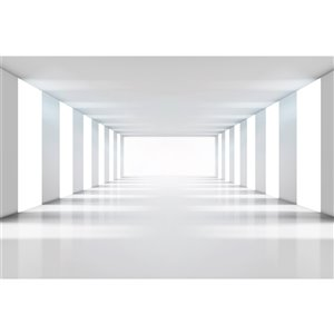 Dimex White Corridor Wall Mural - 12-ft 3-in x 8-ft 2-in