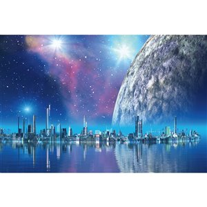 Dimex Futuristic City Wall Mural - 12-ft 3-in x 8-ft 2-in