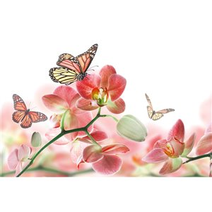 Dimex Orchids and Butterfly Wall Mural - 12-ft 3-in x 8-ft 2-in