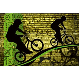 Dimex Bicycle Green Wall Mural - 12-ft 3-in x 8-ft 2-in