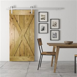 Urban Woodcraft Natural Elements Prefinished MDF Single Barn Door - 40-in x 83-in - Natural