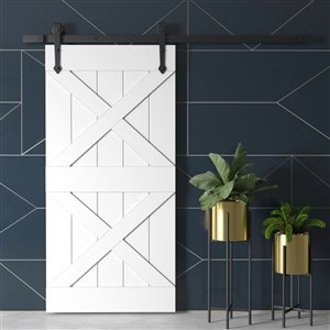 Urban Woodcraft Pillars Prefinished MDF Single Barn Door - 40-in x 83-in - White