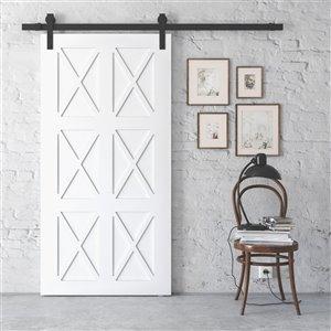 Urban Woodcraft Oxen Prefinished MDF Single Barn Door - 40-in x 83-in - White