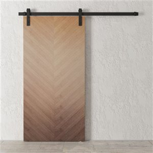 Urban Woodcraft Hickory Prefinished MDF Single Barn Door - 40-in x 83-in - Walnut