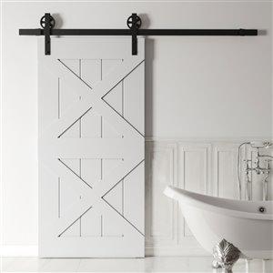 Urban Woodcraft Pillars Prefinished MDF Single Barn Door - 40-in x 83-in - Grey