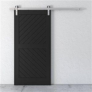 Urban Woodcraft Carbon Prefinished MDF Single Barn Door - 40-in x 83-in - Espresso