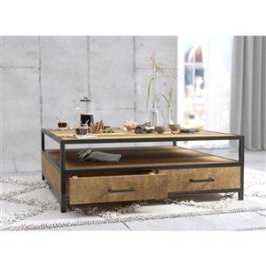 Urban Woodcraft Ohio Square Coffe Table - 40-in - Natural Teak