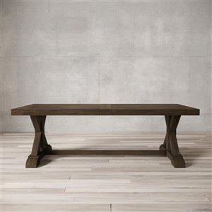 Urban Woodcraft Santiago Rectangular Fixed Dining Table - 98-in - Salvaged Espresso Pine