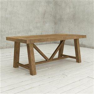 Urban Woodcraft Aberdeen Rectangular Fixed Dining Table - 78-in - Natural Teak