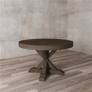 Urban Woodcraft Stamford Round Fixed Dining Table - 48-in - Salvaged Espresso Pine