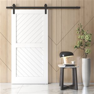 Urban Woodcraft Carbon Prefinished MDF Single Barn Door - 40-in x 83-in - White