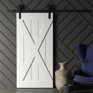 Urban Woodcraft Elements Prefinished MDF Single Barn Door - 40-in x 83-in - Grey