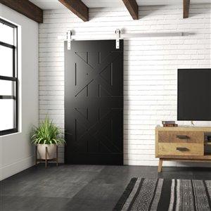 Urban Woodcraft Pillars Prefinished MDF Single Barn Door - 40-in x 83-in - Espresso
