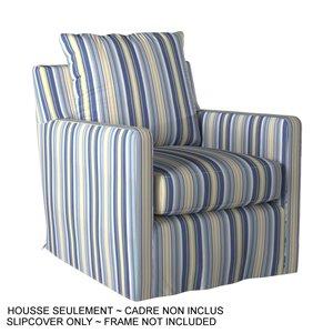 Housse rayée pour chaise Seaside de Sunset Trading, tissu performance bleu