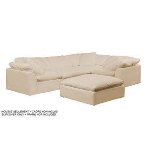 Housse pour sofa sectionnel Cloud Puff de Sunset Trading, 5 pièces, tissu performance beige