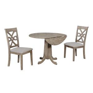 Ensemble de table en bois French Twist de Sunset Trading, 3 pièces, gris