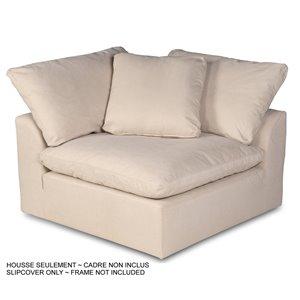 Housse Cloud Puff de Sunset Trading pour fauteuil de canapé sectionnel en angle, tissu performance beige