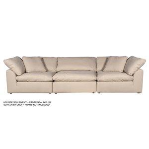 Housse pour sofa sectionnel  Cloud Puff de Sunset Trading, 3 pièces, tissu performance beige