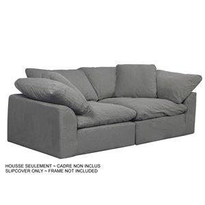 Housse pour sofa sectionnel Cloud Puff de Sunset Trading, 2 pièces, tissu performance gris