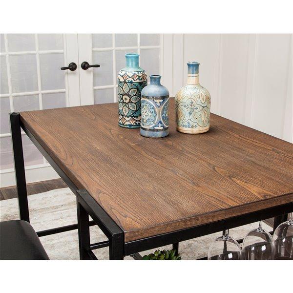 Ensemble de table en métal industriel Rustic Elm de Sunset Trading, 3 mcx, brun