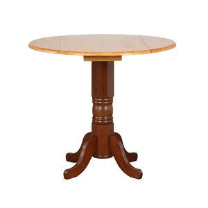 Sunset Trading Round Oak Table - 42-in - Nutmeg Brown/Light Oak