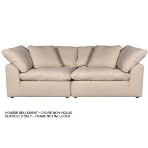 Housse pour sofa sectionnel Cloud Puff de Sunset Trading, 2 pièces, tissu performance blanc