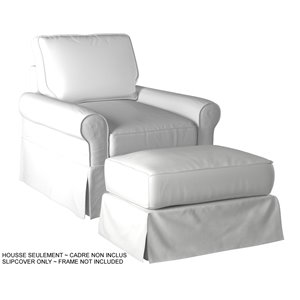Ensemble de housse pour chaise et ottoman Horizon de Sunset Trading, blanc