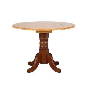Sunset Trading Round Oak  Dining Table - 42-in - Nutmeg Brown/Light Oak