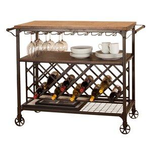 Sunset Trading Rustic Elm Industrial Metal Wine Cart - Brown