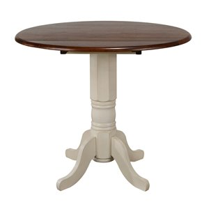 Table ronde Andrews de Sunset Trading, 42 po, blanc antique/brun