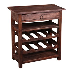 Sunset Trading Shabby Chic Wood Wine Server with Drawer - Black