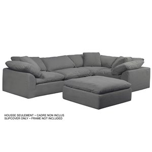 Sunset Trading Cloud Puff Slipcover Only for Modular Sectional Sofa - 5 Pieces - Performance Fabric Grey