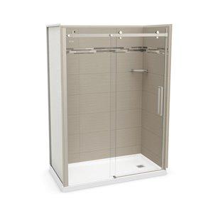 Ens. de douche en alcôve Utile par MAAX avec drain à droite , 60 po x 32 po, Origine Grège/nickel brossé, 5 pièces